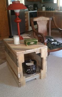 Custom made pallet end table. Dimensions 18x22x30 but can be made the size that fits your needs. (pricing may vary) *Contact us for a shipping quote. **All items are one of a kind creations and can va
