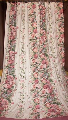 Vintage Shabby Roses Chic Victorian French Country Floral Drapes Curtains Panels