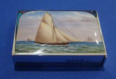 Victorian Silver & Enamel 'Sailing Ship' Vesta Case, Made by Sampson Mordan, London 1889 - Daniel Bexfield Antiques