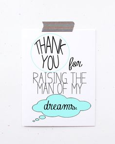 Thank you for raising the man of my dreams blue in laws card mother father of groom wedding day card mothers day birthday nice little sloth on Etsy, $4.00