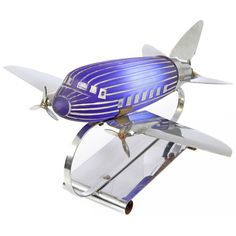 Original Art Deco Chrome and Glass Airplane Lamp | From a unique collection of antique and modern table lamps at https://www.1stdibs.com/furniture/lighting/table-lamps/