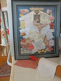 Cynthia's Cottage Design. All her Mom's recipes in a collage and framed. AWESOME!