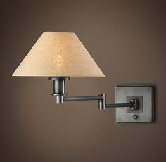 RH's Petite Candlestick Swing-Arm Sconce  with Linen Shade:A simply elegant yet unobtrusive lamp designed to contribute to the well-appointed room, without competing with it. Add one or more to bring illumination where it's needed.