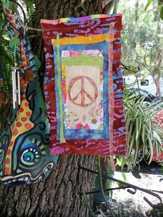 Hippie Prayer Flag for Peace Gypsy garden flag by justgivemepeace, $23.00