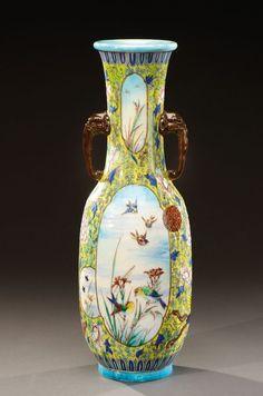 Lot : THEODORE DECK (1823-1891)  - Important vase de forme balustre en céramique[...]   Dans la vente Art Nouveau, Art Déco (Drouot) à Aguttes