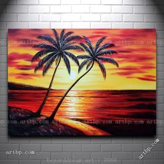 Coastal Palm Trees At Sunset In Hawaii Oil Painting Naturalism Seascape Film For Wall Wall Frame Decorative Free Shipping