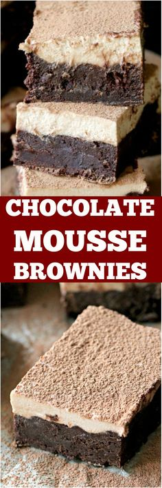 Creamy, indulgent and rich, these chocolate mousse brownies are addictive and you will want to make them over and over again. from Sweet. Chocolate Desserts, Easy Desserts, Delicious Desserts, Gourmet Desserts, Chocolate Brownies, Plated Desserts, Brownie Recipes, Cookie Recipes, Dessert Recipes