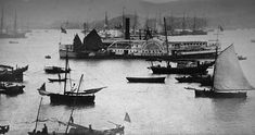 1860 Port: The photograph shows the sun setting on the famous Hong Kong harbour in the late 1860s. The volume contains a total of 46 photos of varying sizes, but four of those are duplicates and one is a defective picture