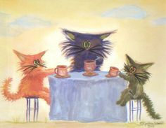 Kitty Tea Party  - by Cynthia Schmidt from Cats