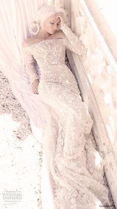 GEORGE WU 2016 #bridal gowns long sleeves off the shoulder neckline fully embellished lace elegant romantic sheath #wedding dress (saffira) mv