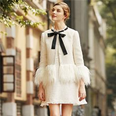 Cheap blazers for women, Buy Quality winter blazer directly from China tweed blazer Suppliers: SHEIN White Faux Fur Trim Tweed Blazer 2017 New Winter Blazer for Woman Collarless Single Breasted Elegant Blazer Tweed Blazer, Tweed Jacket, Brown Blazer, Blazer Jacket, Belted Shirt Dress, Ruched Dress, Aliexpress, Blazers For Women, Fur Trim