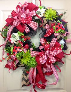 Spring / Summer Mesh Wreath by WilliamsFloral on Etsy, $99.00