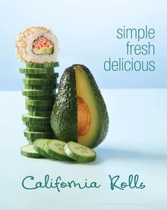 Edo Japan's California Roll Pickles, Cucumber, Watermelon, Centre, Rolls, California, Fresh, Food, Kitchens