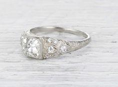 1.21 Carat Art Deco Engagement Ring