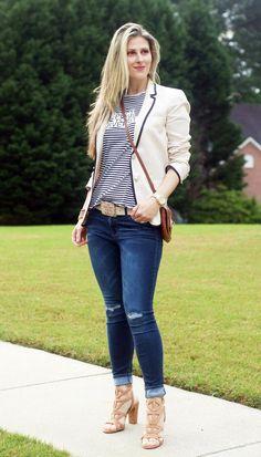 Spring and summer style inspiration by TeodorasLookbook.com; J. Crew Blazer, dark denim and stripe shirt