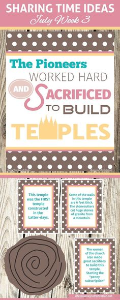 Life's Journey To Perfection: 2016 LDS Sharing Time Ideas for July Week The pioneers worked hard and sacrificed to build temples. Pioneer Activities, Primary Activities, Primary Lessons, Church Activities, Learn Singing, Singing Lessons, Singing Tips, Lds Primary, Primary Music