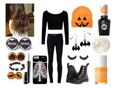 """""""Halloween!!!!!!!!!!!!!!!!!!!!!!!!!!!!"""" by fashiongirlxcx ❤ liked on Polyvore featuring Boohoo, Ström, Dr. Martens, Models Own, MAC Cosmetics and Sally Hansen"""