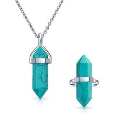 Bling Jewelry Double Pointed Crystal Synthetic Turquoise Stainless Steel Stainless Steel Jewelry Set ($13) found on Polyvore featuring women's fashion, jewelry, blue, turquoise blue jewellery, pendant jewelry, blue turquoise jewelry, turquoise pendant and blue crystal pendant