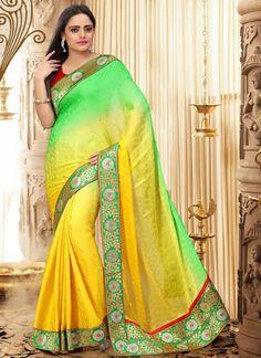 Dazzling #Green #Satin #Chiffon #Jacqaurd #Saree #ombre