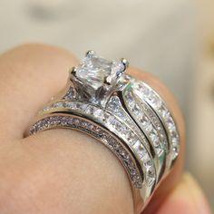 Victorian Princess Cut Sterling Silver White Sapphire CZ Diamond Bridal Ring
