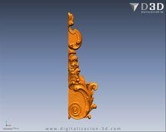 """Digitalización 3d de """"oreja"""" tallada con motivos ornamentales para lateral de retablo - Frente"""