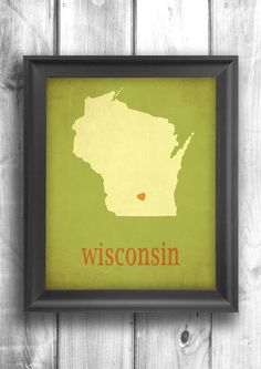 Wisconsin map art typographic print state poster wall sign choose your color - 11x14 Typography