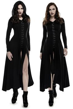 51dea38fd2a Bagira Black Gothic Coat-Dress by Punk Rave is made from stretch black  cotton knit