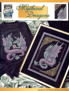Mythical blue and purple dragon with fancy border full free cross stitch - Page 0 Dragon Cross Stitch, Fantasy Cross Stitch, Cross Stitch Baby, Counted Cross Stitch Patterns, Cross Stitch Embroidery, Embroidery Patterns, Mythical Dragons, Cross Stitch Needles, Cross Stitching