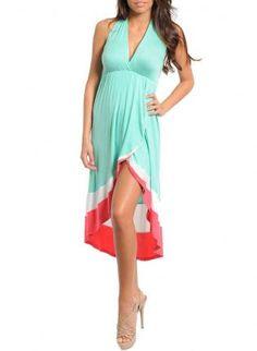 Aqua Halter Dress,  Dress, High low  split  dress  aqua, Chic