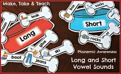 Hands on activities for teaching long and short vowel sounds