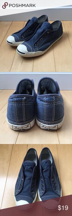 Jack Purcell Converse Sneakers Women's 8 1/2 Gently worn....some scuffs on the toe and while border....otherwise no stains or rips on the upper blue material. The blue color is a little lighter in person than in the pics. Converse Shoes Sneakers