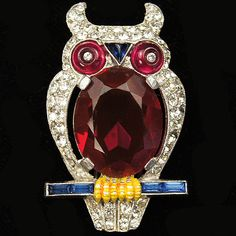 Trifari 'Alfred Philippe' Ruby Faceted Belly Owl Pin Clip, 1941