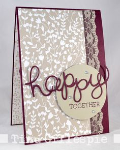 Card with Stampin Up Something Borrowed DSP Crazy About You die & stamp bundle By Tina, Scissors Paper Card: JAI #263: Just Add Weddings!
