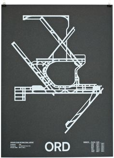 """Chicago O-Hare International Airport. """"ORD"""" from """"Airport Runway Screenprints"""" by Nomo. Gfx Design, Graphic Design, Design Shop, Graphic Art, Print Design, Graphic Posters, Print Print, Design Posters, Color Print"""