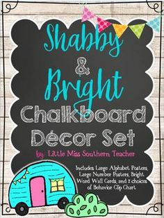 Shabby and Bright Chalkboard Decor SetThis is not the same ole same ole decor set. I will be using this set for my glamping theme this year!! It can be used in any shabby chic, bright, or chalkboard themed classroom! It has adorable KG fonts and melonheadz clip art!