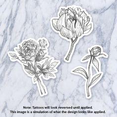 Floral Temporary Tattoo Flowers Bouquet Peony Nature Black Gray Monochrome Simple Minimalist Line Drawing Illustration Hipster Original by Tatzarazzi on Etsy https://www.etsy.com/listing/238101125/floral-temporary-tattoo-flowers-bouquet