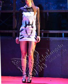styliste en herbe Marianna D'Angelo Lab Creations .black & white ethnic geometric party dress. optical