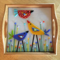 """Birds in the Garden 8"""" soft fused glass tile insert in small tray by Kim Natwig."""