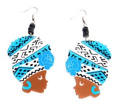 African Ethnic Woman Wooden Earrings