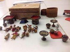 Antique Vintage Japanese Miniatures People Dolls & Furniture
