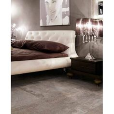 Flooring can be used to impact the space in your home. Large tiles help to tame an over-sized bedroom by keeping the eye moving. Shown: Tiles by Marazzi Marazzi Tile, Concrete Look Tile, Porcelain Wood Tile, Interior Design, House, Furniture, Spaces, Flooring Ideas, Flats