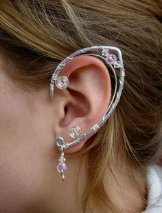 An Elegant  Pair of Elf Ear Cuffs Aluminum Silver by jhammerberg