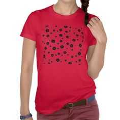 Black Flowers on Red t-shirts