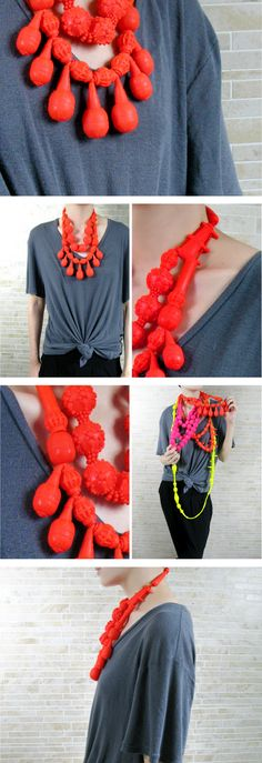Wearing a child's teething toy as a necklace is a great* way to upcycle items! *disgusting