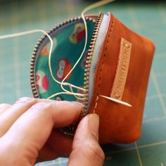 Hand stitched coin p Leather Backpack Purse, Leather Purses, Leather Handbags, Leather Wallet, Leather Purse Diy, Leather Tooling, Leather Bags, Leather Accessories, Leather Jewelry