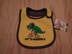 Carter's Boys Yellow Brown Dinosaur Off To Grandma's Bib NWT on eBay!