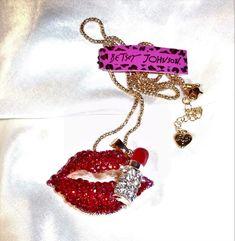 "womens Betsey Johnson red crystal lips w/lipstick long chain necklace adj 30-36"" #BetseyJohnson #ChainPendant"