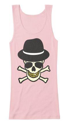 Halloween Skull Hipster Tank Top Soft Pink T-Shirt Front