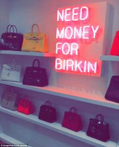 A pretty penny: The closet has just been completed in Kris' home, and includes four shelves for her Hermès collection as well as a neon sign that reads 'Need Money for Birkin'