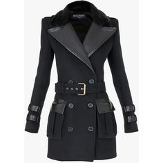 Balmain Short wool and cashmere blend trench-coat ($4,205) ❤ liked on Polyvore featuring outerwear, coats, jackets, balmain, casacos, tops, short trench coat, double breasted trench coat, short coat and slim fit trench coat